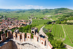 Soave town aerial view.Italian landscape Stock Image