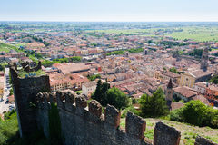 Soave town aerial view.Italian landscape Stock Photography