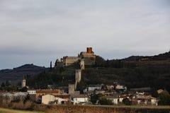 Soave Verona Italy Ancient Castle con le pareti medievali Fotografie Stock