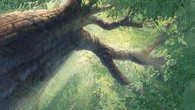 Sob a árvore grande ilustração do vetor