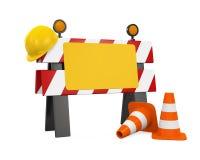 Sob a barreira da construção, cones do tráfego e capacete de segurança ilustração do vetor