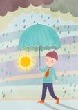 Sob a chuva Fotografia de Stock