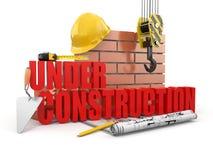 Sob a construção. Ferramentas, capacete de segurança e parede ilustração royalty free