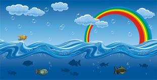 Sob e na água Fotografia de Stock