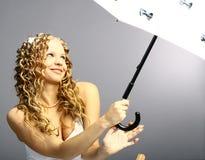 Sob meu guarda-chuva Fotografia de Stock Royalty Free