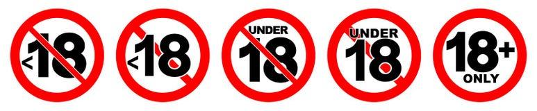 Sob 18 não permitidos o sinal Número dezoito no círculo cruzado vermelho Fotos de Stock