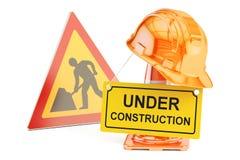 Sob o conceito da construção Sinal dos cones, do capacete de segurança e de estrada do tráfego Imagem de Stock Royalty Free