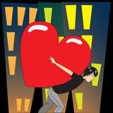 Sob o coração grande Imagens de Stock