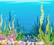 sob o fundo Marine Life Landscape do mar - o oceano e o mundo subaquático com habitantes diferentes Para a cópia, crea ilustração royalty free