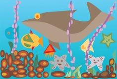 Sob o mar com peixes Imagem de Stock