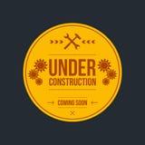 Sob o sinal da construção, projeto gráfico Fotografia de Stock