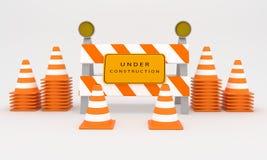 Sob o sinal da construção, rendição do sinal 3D da construção da Web Foto de Stock