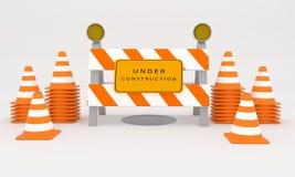 Sob o sinal da construção, rendição do sinal 3D da construção da Web Foto de Stock Royalty Free