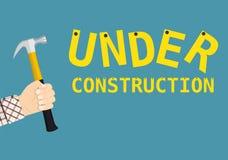 Sob o sinal da página da construção Imagem de Stock Royalty Free