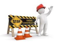 Sob o sinal e o trabalhador da construção Foto de Stock