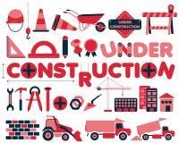 Sob os ícones do vetor da construção ajustados Fotografia de Stock