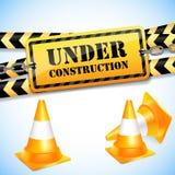 Sob a página da construção com cones do tráfego. ilustração do vetor