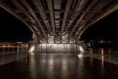Sob a ponte de Margit em budapest, Hungria Fotografia de Stock Royalty Free