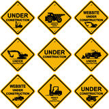 Sob sinais da construção ilustração stock