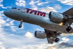 Sob TAM Airlines Airplane Imagem de Stock