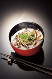 Soba. A bowl of Japanese soba isolated in black background Stock Images