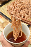 Soba. Close up of soba-traditional Japanese noodles royalty free stock photo