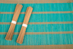Soba on bamboo mat Royalty Free Stock Images