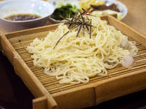 Soba on bamboo plate Royalty Free Stock Photo