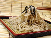 Soba and chopsticks stock image