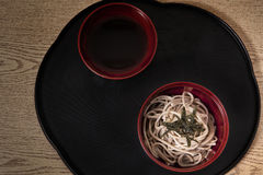 Soba. Japanese noodle in black dish Stock Photo