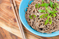 Soba noddles. In a bowl. Top view, selective focus Stock Images