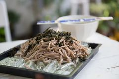 Soba Noodles , japanese food. Soba noodle on the table stock image