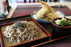 Soba noodle with fried shrimp Stock Image