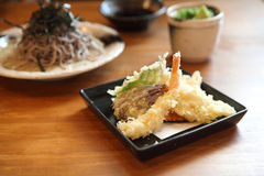 Soba noodle with fried shrimp Royalty Free Stock Photo