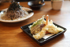 Soba noodle with fried shrimp Stock Photography