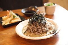Soba noodle with fried shrimp Royalty Free Stock Image