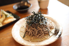 Soba noodle with fried shrimp Stock Photos
