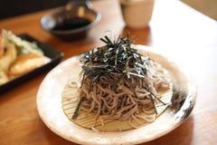 Soba noodle with fried shrimp Stock Photos