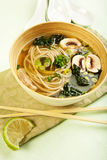 Soba Noodle and Kale Soup Royalty Free Stock Photos