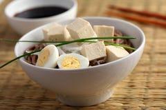 Soba noodle soup with tofu and daikon radish Stock Photography