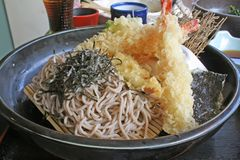 Soba Noodle and Tempura Street Food stock photography
