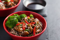 Soba noodle with teriyaki chicken and broccoli Stock Images