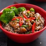 Soba noodle with teriyaki chicken and broccoli Stock Photos