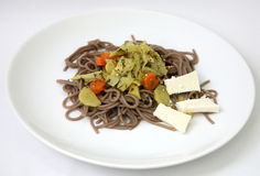 Soba noodle with vegetable and cheese Royalty Free Stock Photo