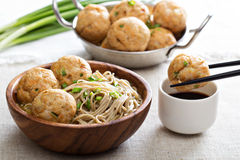 Soba noodles with chicken meatballs Royalty Free Stock Photos