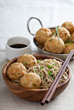 Soba noodles with chicken meatballs Royalty Free Stock Image