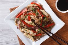 Soba noodles with chicken and vegetables top view horizontal Royalty Free Stock Photos