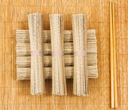 Soba noodles and chopsticks Stock Photo