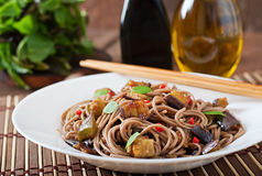 Soba noodles with eggplant Royalty Free Stock Photography