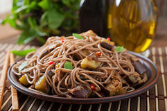 Soba noodles with eggplant Royalty Free Stock Image